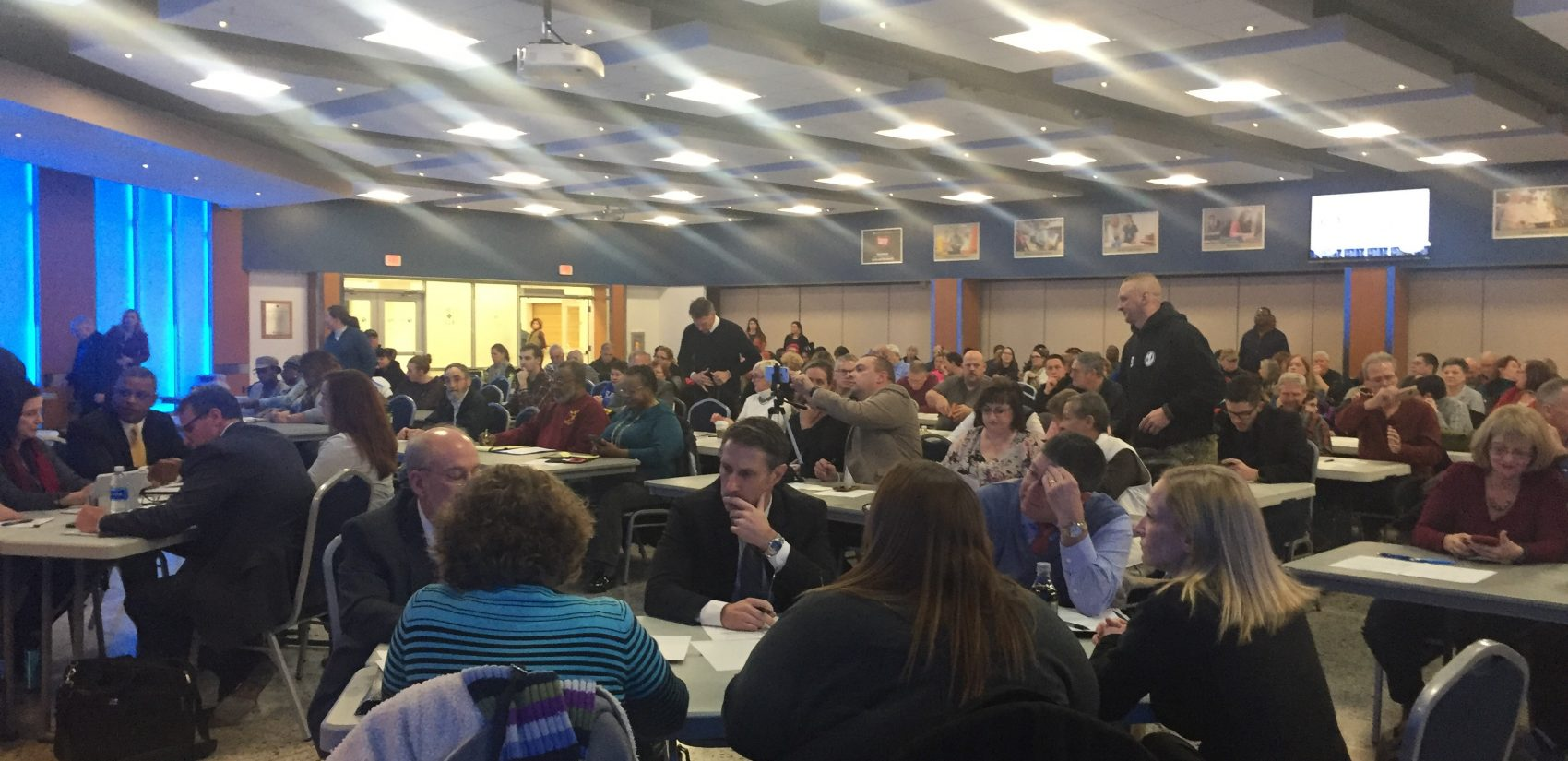 Vocal opponents and supporters of the proposed anti-discrimination policy for schools attended a meeting of Gov. John Carney's team of officials, advocates and parents developing Regulation 225. (Cris Barrish/WHYY)