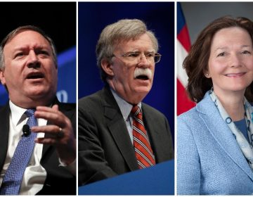 From right to left: Mike Pompeo, John Bolton, Gina Hapsel (credit: AP)