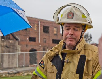 Philadelphia fire commissioner Adam Thiel said it will take time to determine what caused the fire at The Original Apostolic Faith Church of the Lord Jesus Christ in North Philadelphia. (Kimberly Paynter/WHYY)