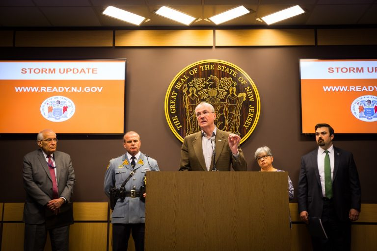 Gov. Phil Murphy gives an update on storm recovery efforts in New Jersey following two nor'easters. (Edwin J. Torres/Governor's Office.)