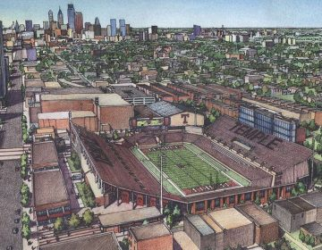 Preliminary sketch of the proposed Temple on-campus football stadium. (Temple University)