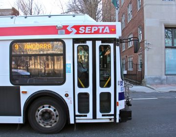 A SEPTA bus travels west on Walnut Street.