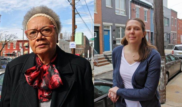 Claudia Sherrod (left) and Haley Dervinis (right) in front of their homes in Point Breeze.