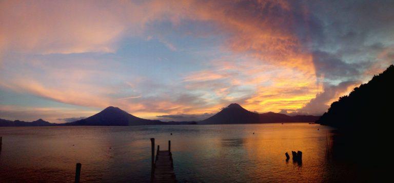 Sunset over Lago de Atitlán in Guatemala