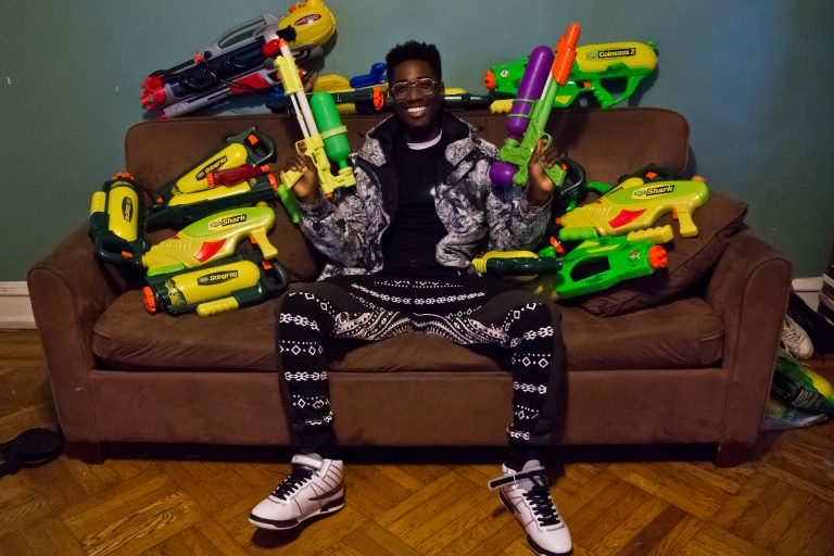 Gabriel Nyantakyi collects super soaker toys and orchestrates water play days all over the world. (Kimberly Paynter/WHYY)