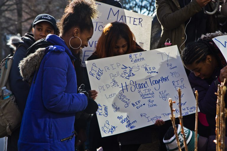 Dymonique Hammond and her classmates from Freire Charter High School during the National School Walkout on March 13, 2018.