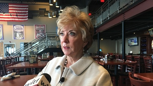 Small Business Administration head Linda McMahon talks to reporters during a visit to the Appalachian Brewing Company in Mechanicsburg. (Katie Meyer/WITF)