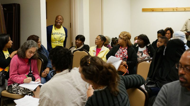 Wister principal Donna Smith defended her tenure as the school's leader at the October 2015 community meeting. (Bastiaan Slabbers for WHYY)