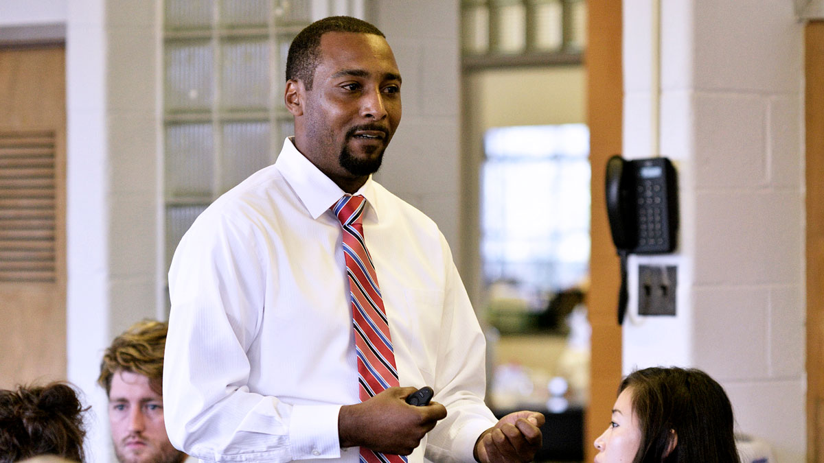 After the conversion became official, Mastery hired Jovan Weaver to become the school's new leader. (Bastiaan Slabbers for WHYY)