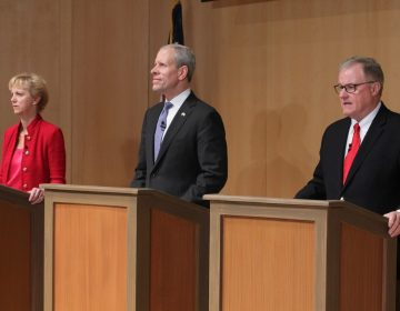 Republican candidates for governor of Pennsylvania (from left), Laura Ellsworth, Paul Mango, and Scott Wagner, participate in a debate at the National Constitution Center. (Emma Lee/WHYY)