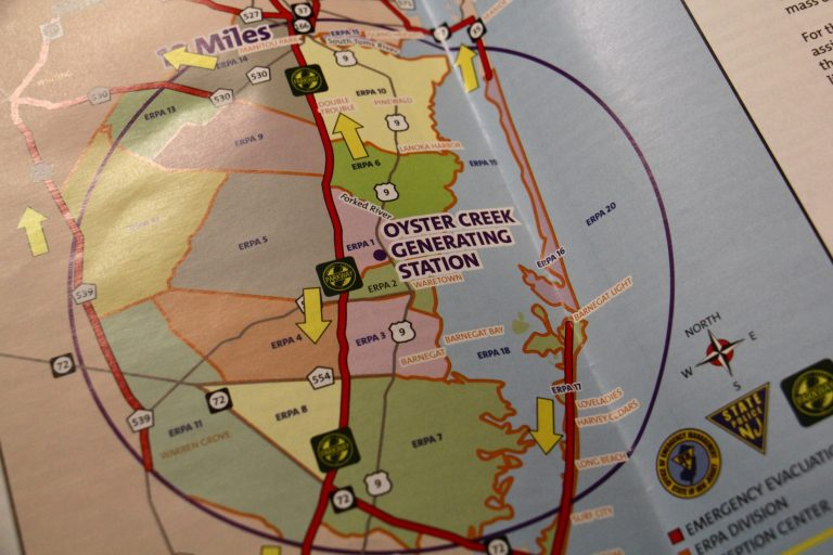 An emergency evacuation pamphlet shows the 10-mile radius around Oyster Creek Generating Station. (Emma Lee/WHYY)