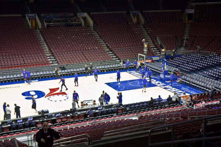The 76ers practice at Wells Fargo Center in Philadelphia. (Kimberly Paynter/WHYY)