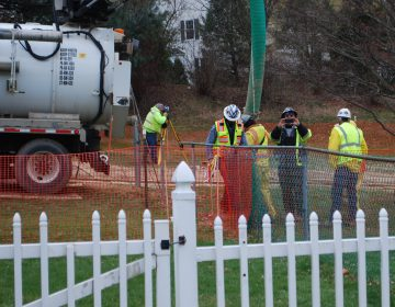 Workers and contractors for Sunoco Pipeline have been investigating geological conditions behind homes at Lisa Drive, West Whiteland Township, Chester County where the company has been drilling for construction of the Mariner East 2 and 2X pipelines. The company offered to relocate residents of the five homes whose yards are crossed by the pipeline right of way. (Jon Hurdle/StateImpact Pennsylvania)