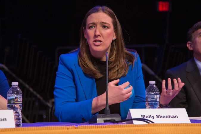 Molly Sheehan is a bioengineer who is  finishing up a fellowship at the University of Pennsylvania, This is her first run for political office. (Emily Cohen for WHYY)