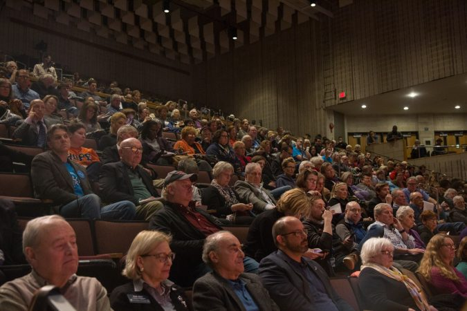Constituents from the newly formed 5th Congressional District listen to a debate among 13 of the 14 Democratic candidates running for the congressional seat at Upper Darby High School. (Emily Cohen for WHYY)