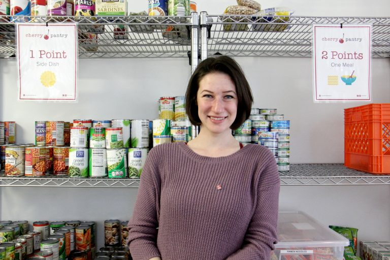 Temple senior Sarah Levine, who struggled with food insecurity herself, is the student manager of the Cherry Pantry.