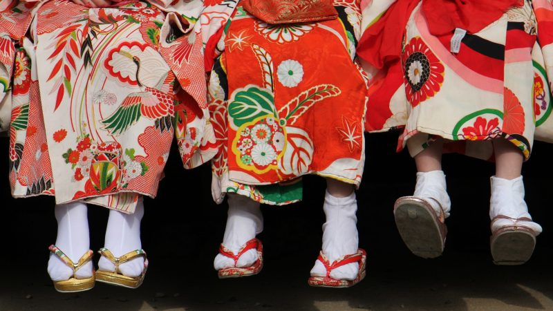 Students from the Japanese Language School of Philadelphia wait to play their part in the opening ceremony for the Cherry Blossom Festival at the Japanese House and Garden in Fairmount Park. (Emma Lee/WHYY)