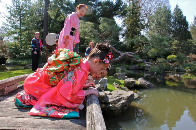 Students from the Japanese Language School of Philadelphia peer into the waters of the koi pond at the Japanese House and Garden. (Emma Lee/WHYY)