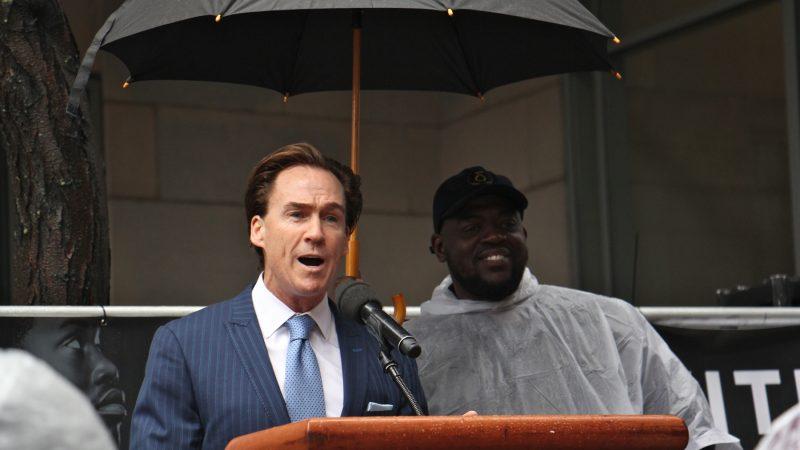 Pennsylvania Lt. Gov. Mike Stack speaks in support of imprisoned rapper Meek Mill. (Emma Lee/WHYY)