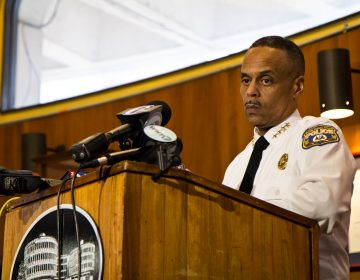 """I don't drink coffee, and I don't go to Starbucks,"" said Philadelphia Police Commissioner Richard Ross at a press conference Thursday afternoon. (Kimberly Paynter/WHYY)"