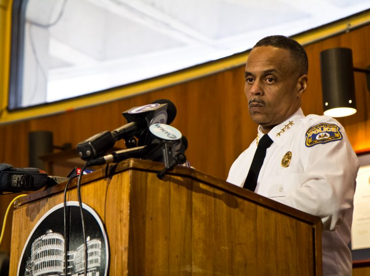 """""""I don't drink coffee, and I don't go to Starbucks,"""" said Philadelphia Police Commissioner Richard Ross at a press conference Thursday afternoon. (Kimberly Paynter/WHYY)"""
