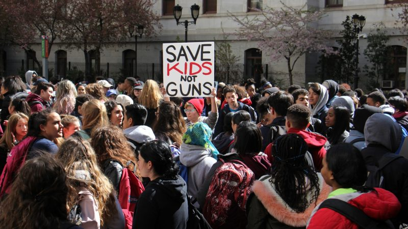 Hundreds of students fill the courtyard at Philadelphia City Hall to protest gun violence. (Emma Lee/WHYY)