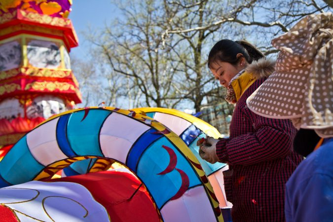Twenty Chinese artisans spent a month creating the wire and silk structures, then painting them. (Kimberly Paynter/WHYY)