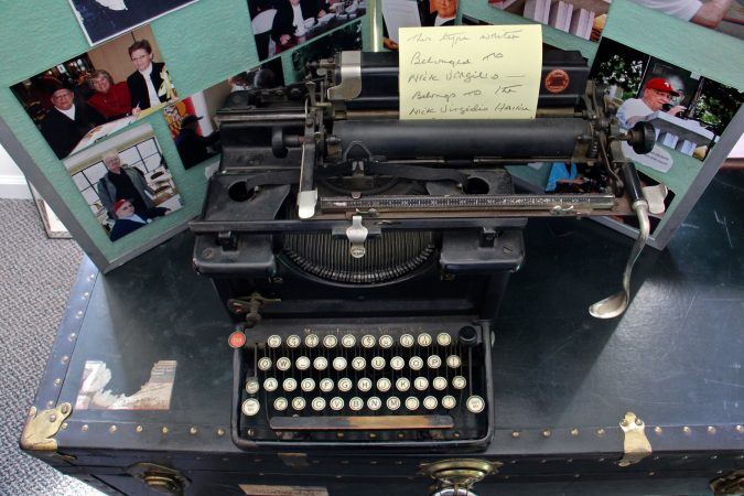 Nick Virgilio's typewriter, upon which he composed many of his haikus, is among the artifacts kept at the Nick Virgilio Writers House in Camden. (Emma Lee/WHYY)
