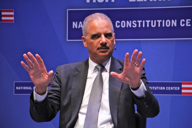 Former United States Attorney General Eric Holder speaks at the National Constitution Center's event,
