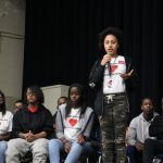 Students at Parkway Center City Middle College talk about their experiences with gun violence during a student-led forum with City Council President Darrell Clarke and Councilwoman Cindy Bass. (Emma Lee/WHYY)