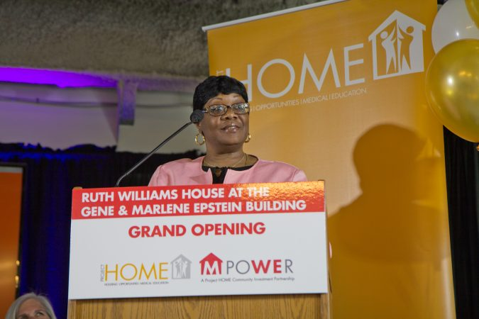 Bonita Prichette is a certified recovery specialist and resident of the Ruth Williams House at the Gene and Marlene Epstein Building in Philadelphia. (Kimberly Paynter/WHYY)
