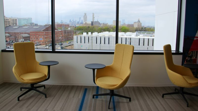 The fifth floor windows provide views of the Camden and Philadelphia skylines. (Emma Lee/WHYY)