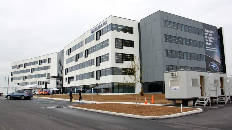 Subaru of America will complete its move to its new headquarters in Camden on May 4. The fate of the old building in Cherry Hill is still uncertain. (Emma Lee/WHYY)