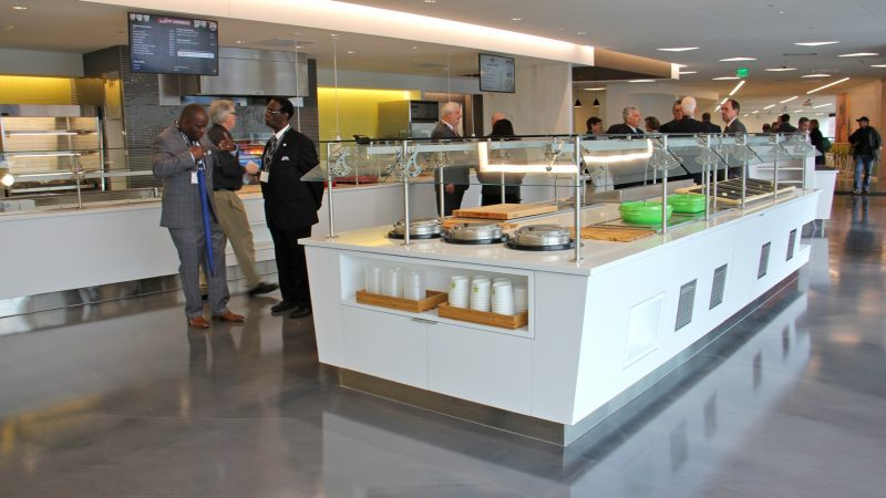 The cafeteria at the new Subaru headquarters. (Emma Lee/WHYY)