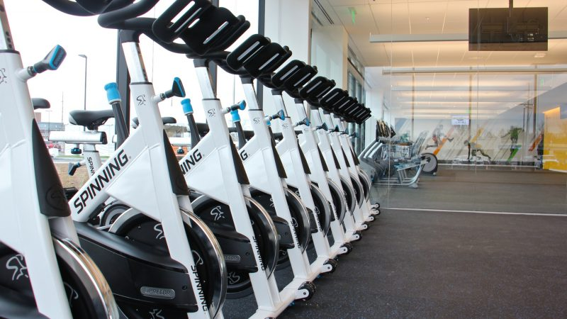 Fitness options for employees will include spin classes, free weights and treadmills in the first floor gym. (Emma Lee/WHYY)