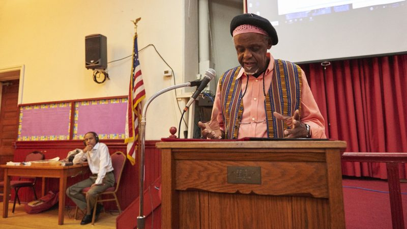 Mother Bethel AME Chaplain Mahdi ibn Ziyad delivers a speech of unity. (Natalie Piserchio for WHYY)