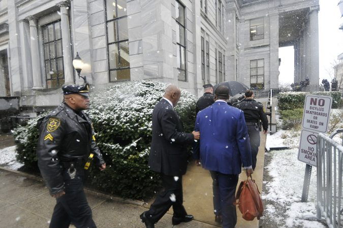 Bill Cosby arrives at the Montgomery County Courthouse in Norristown, Pa. on Monday, April 2, ahead of jury selection for his upcoming sexual assault retrial. (Bastiaan Slabbers/ for WHYY)