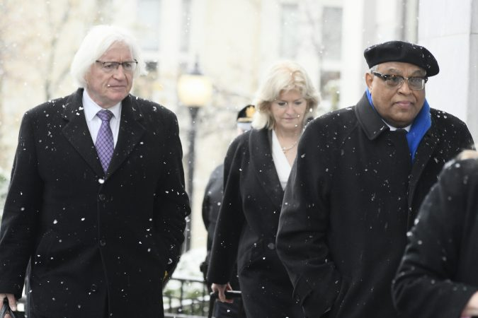 Bill Cosby's legal defense team, including attorneys Tom Mesereau and Kathleen Bliss, arrive at the Courthouse in Norristown, PA on Monday, April 2, 2018. (Bastiaan Slabbers for WHYY)