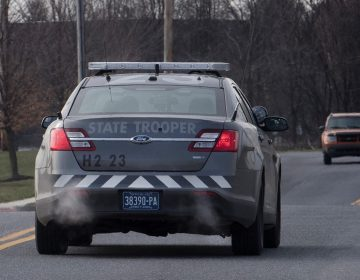 A Pennsylvania State Police patrol car leaves the Carlisle barracks. (Jose F. Moreno/Philadelphia Inquirer)
