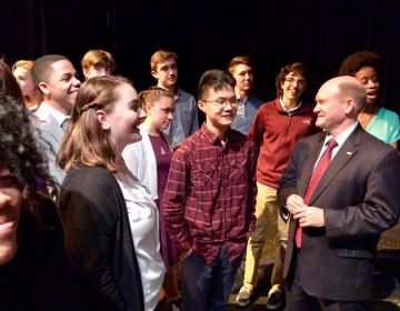 U.S. Sen. Chris Coons talks about school shootings with students at Middletown High School in Middletown, Delaware. (photo via Facebook/Sen. Coons staff)