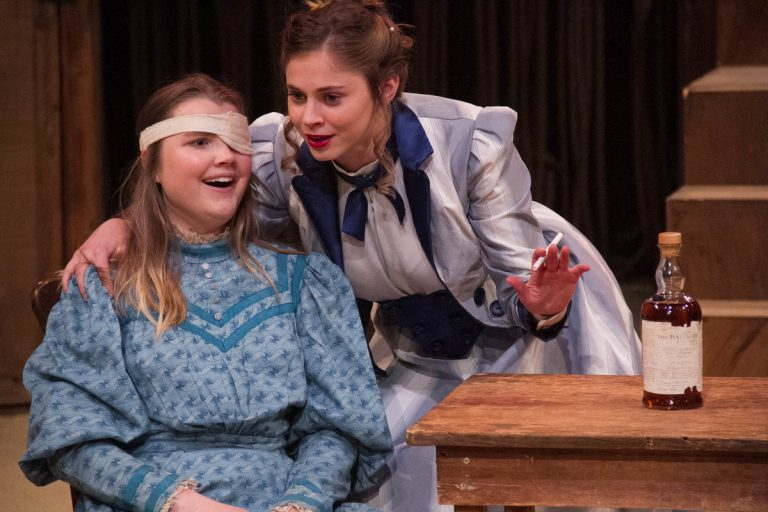 Kylie Westerbeck (left) and Kristie Ecke as the daughters of Lydie Breeze in EgoPo Classic Theater's production of
