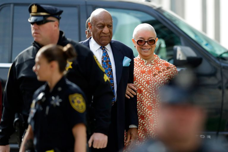 Bill Cosby arrives with his wife, Camille, for his sexual assault trial, Tuesday, April 24, 2018, at the Montgomery County Courthouse in Norristown. (Matt Slocum/AP Photo)