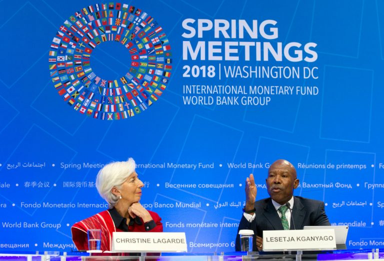 International Monetary Fund (IMF) Managing Director Christine Lagarde accompanied by International Monetary and Financial Committee (IMFC) Chair and South Africa's Reserve Bank Governor Lesetja Kganyagothey speaks during a news conference after the IMFC conference at the World Bank/IMF Spring Meetings, in Washington, Saturday, April 21, 2018. (Jose Luis Magana/AP Photo)