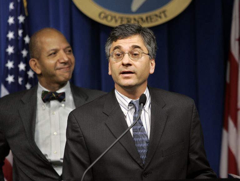 FILE, In this Dec. 15, 2004 photo, Washington Mayor Tony Williams, left, introduces the District of Columbia's new director of the Youth Services Administration, Vincent Schiraldi.