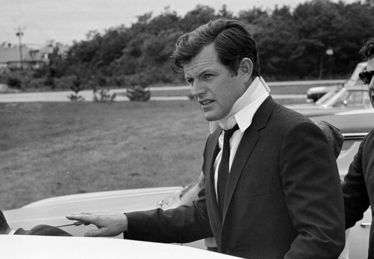 FILE-- This July 22, 1969 file photo shows U.S. Sen Edward Kennedy, D-Mass., arriving back at his home in Hyannis Port, Mass., after attending the funeral of Mary Jo Kopechne in Pennsylvania. A new feature film is in the works about the tragedy on the small Massachusetts island nearly a half century ago that rocked the Kennedy political dynasty. Kopechne drowned when a car driven by Kennedy went off a bridge on Chappaquiddick, a small island in Edgartown, Mass., on the eastern end of Martha's Vineyard in July 1969. (AP Photo/Frank C. Curtin, File)