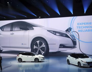 Daniele Schillaci, head of global sales and marketing and also the Zero Emission Vehicle and Battery Business for Nissan, speaks during the world premiere in Chiba, near Tokyo Wednesday, Sept. 6, 2017. Nissan's new Leaf electric car goes father on a charge and comes with autonomous drive technology and single-pedal driving. But whether it can catch on with anyone but the most zealously green-minded remains to be seen. (Eugene Hoshiko/AP Photo)