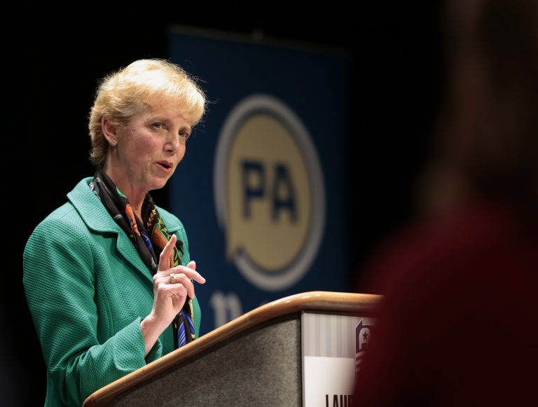 Laura Ellsworth, a lawyer from suburban Pittsburgh and a first-time candidate, answers questions from the panel during a debate between Republican Gubernatorial candidates at Harrisburg Area Community College in Harrisburg, Pa., Thursday, March 1, 2018. (AP Photo/Chris Knight)
