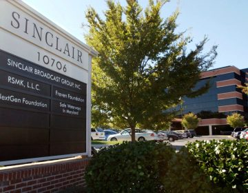 In this Tuesday, Oct. 12, 2004, file photo, Sinclair Broadcast Group, Inc.'s headquarters stands in Hunt Valley, Md. President Trump is jumping to the defense of the Sinclair Broadcast Group, which is under fire following the rapid spread of a video showing anchors at its stations across the country reading a script criticizing