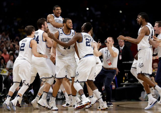 Villanova players celebrate after defeating Michigan 79-62 in the championship game of the Final Four NCAA college basketball tournament, Monday, April 2, 2018, in San Antonio. (AP Photo/Eric Gay)