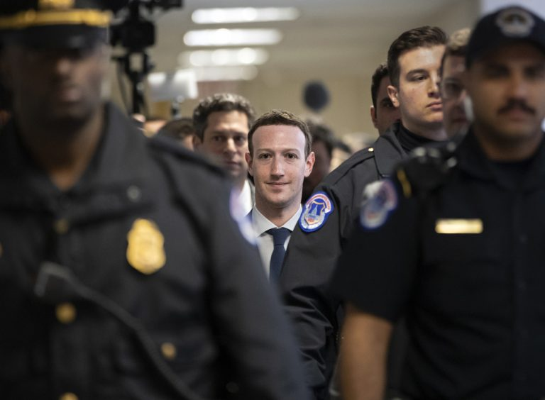 Facebook CEO Mark Zuckerberg arrives on Capitol Hill in Washington, Monday, April 9, 2018